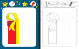 Preschool worksheet. For practicing fine motor skills - tracing dashed lines - finish the illustration of present Stock Photography
