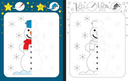 Preschool worksheet. For practicing fine motor skills - tracing dashed lines - finish the illustration of snowman Stock Photography