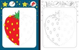 Preschool worksheet. For practicing fine motor skills - tracing dashed lines - finish the illustration of strawberry vector illustration