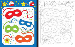 Preschool worksheet. For practicing fine motor skills - tracing dashed lines - finishing carnival masks Royalty Free Stock Photos