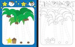 Preschool worksheet. For practicing fine motor skills - tracing dashed lines - finishing coconut trees vector illustration
