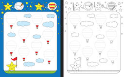 Preschool worksheet. For practicing fine motor skills - tracing dashed lines and finishing illustrations of hot air balloons Royalty Free Stock Photography