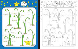 Preschool worksheet. For practicing fine motor skills - tracing dashed lines and finishing spring snowflakes Stock Image