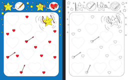 Preschool worksheet. For practicing fine motor skills - tracing dashed lines of hearts Stock Images