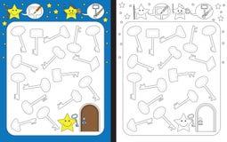 Preschool worksheet. For practicing fine motor skills - tracing dashed lines of keys royalty free illustration