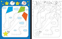 Preschool worksheet. For practicing fine motor skills - tracing dashed lines of kite tail decorations Stock Photo