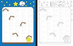 Preschool worksheet. For practicing fine motor skills - tracing dashed lines of maple seed trails Stock Photos