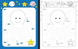 Preschool worksheet. For practicing fine motor skills - tracing dashed lines of octopus arms Stock Images
