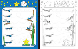 Preschool worksheet. For practicing fine motor skills - tracing dashed lines from one dragonfly to another Stock Images