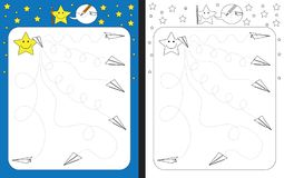 Preschool worksheet. For practicing fine motor skills - tracing dashed lines of paper planes trails Stock Image
