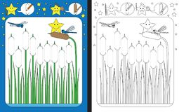 Preschool worksheet. For practicing fine motor skills - tracing dashed lines of reed Stock Photography