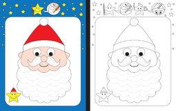 Preschool worksheet. For practicing fine motor skills - tracing dashed lines of Santa Clause`s beard royalty free illustration