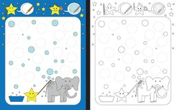 Preschool worksheet. For practicing fine motor skills - tracing dashed lines of soap bubbles from elephant bath Royalty Free Stock Image