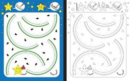 Preschool worksheet. For practicing fine motor skills - tracing dashed lines of watermelon rind Royalty Free Stock Photos