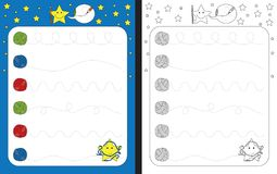 Preschool worksheet. For practicing fine motor skills - tracing dashed lines of wool threads vector illustration