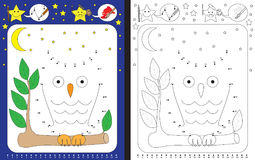Preschool worksheet. For practicing fine motor skills and recognising numbers - connecting dots by numbers - drawin an owl vector illustration