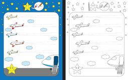 Preschool worksheet. For practicing fine motor skills - tracing dashed lines of airplane trails Stock Image