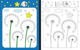 Preschool worksheet. For practicing fine motor skills - tracing dashed lines of dandelion seeds Royalty Free Stock Images
