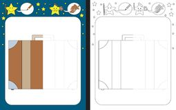 Preschool worksheet. For practicing fine motor skills - tracing dashed lines - finish the illustration of a suitcase stock illustration