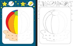 Preschool worksheet. For practicing fine motor skills - tracing dashed lines - finish the illustration of beach ball royalty free illustration