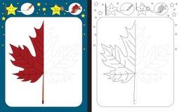 Preschool worksheet. For practicing fine motor skills - tracing dashed lines - finish the illustration of maple leaf royalty free illustration