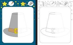 Preschool worksheet. For practicing fine motor skills - tracing dashed lines - finish the illustration of pilgrim hat stock illustration