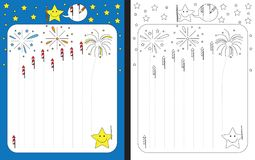 Preschool worksheet. For practicing fine motor skills - tracing dashed lines of fireworks Stock Images