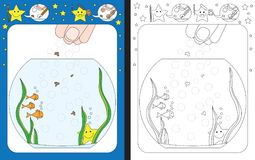 Preschool worksheet. For practicing fine motor skills - tracing dashed lines of food for goldfish Stock Photography