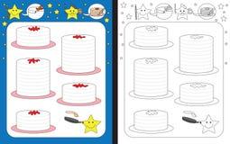 Preschool worksheet. For practicing fine motor skills - tracing dashed lines of pancakes vector illustration