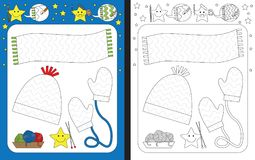 Preschool worksheet. For practicing fine motor skills - tracing dashed lines of shawl, cap and mittens stock illustration