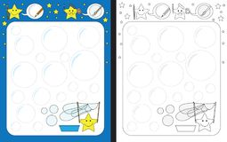 Preschool worksheet. For practicing fine motor skills - tracing dashed lines of soap bubbles Stock Photos