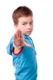Preschooler in blue shirt Stock Images