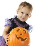 Preschooler bonito de la calabaza Foto de archivo libre de regalías