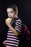 Preschooler eating apple Stock Images