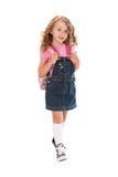 Preschooler felice che cammina al banco Immagini Stock Libere da Diritti