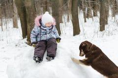 Preschooler girl playing in winter park on snowy Stock Photos