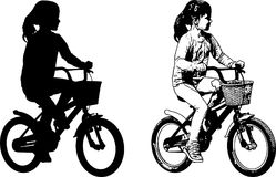 Preschooler girl riding bicycle sketch and silhouette. Vector Stock Images