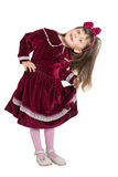 Preschooler girl in velvet dress Royalty Free Stock Image