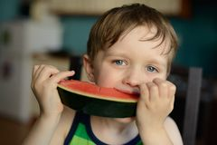 Preschooler happy little boy eats a watermelon Stock Images