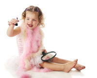 Preschooler with Lipstick Stock Image