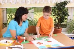 Preschooler and manual skills Stock Image