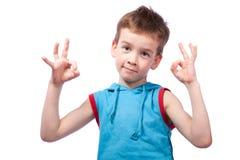 Preschooler na camisa azul Foto de Stock Royalty Free