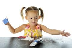 Preschooler Stringing Out Stock Photo