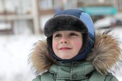 Preschooler in winter park Royalty Free Stock Image