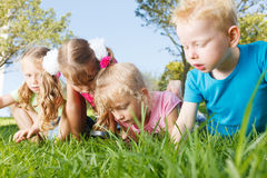 Preschoolers exploring the nature. With magnifying glass Royalty Free Stock Image