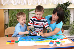Preschoolers and fingerpainting Royalty Free Stock Photo