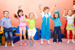 Preschoolers jumping Royalty Free Stock Photo
