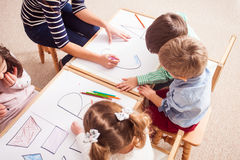 Preschoolers learn letters Royalty Free Stock Photography