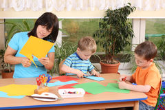 Preschoolers and manual skills Stock Photo