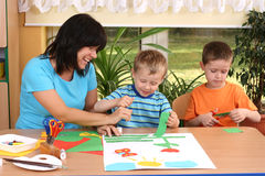 Preschoolers and manual skills Stock Image
